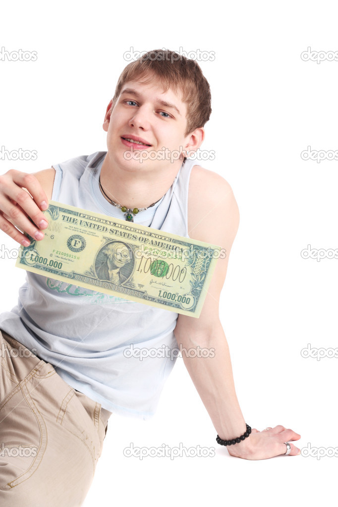 Closeup image of the young man with the million dollars banknote — Stock Photo #6824403