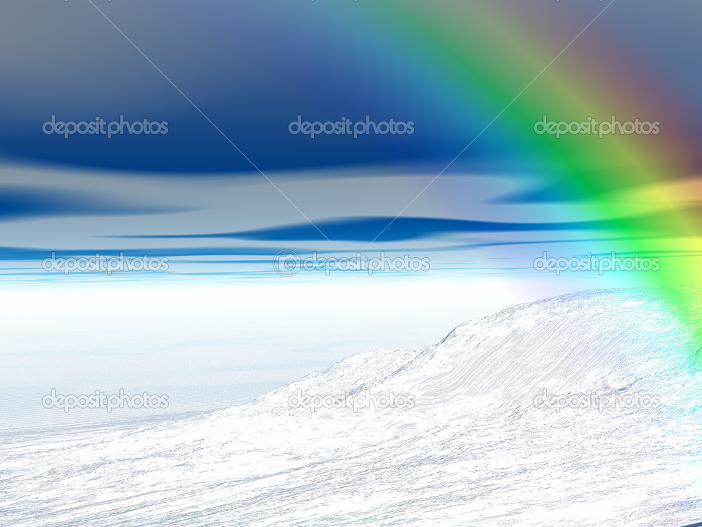 Winter landscape with rainbow — Stock Photo #7135487