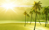 Beautiful island in the god rays — Stock Photo
