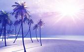 Hermosa isla en los rayos de dios — Foto de Stock
