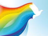 Pigeon with rainbow — Stock Vector