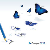 The pencil drawing blue butterflies — Stock Vector