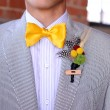 Stock Photo: Seersucker Suit with yellow bowtie and boutonniere