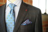 Gray Suit with Blue Pin striping and boutonniere — Stock Photo