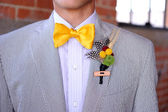 Seersucker Suit with yellow bowtie and boutonniere — Stock Photo