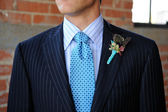 Blue Pinstriped Suit with Tie and Boutonniere — Stock Photo