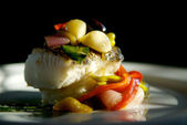 Sea bass dinner — Stock Photo