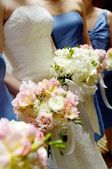 Bridal bouquets with bridesmaides bouquet — Stock Photo