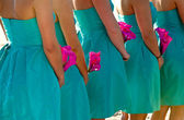 Bridesmaids holding hot pink flowers — Stock Photo