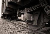 Train wheel and rails — Stock Photo