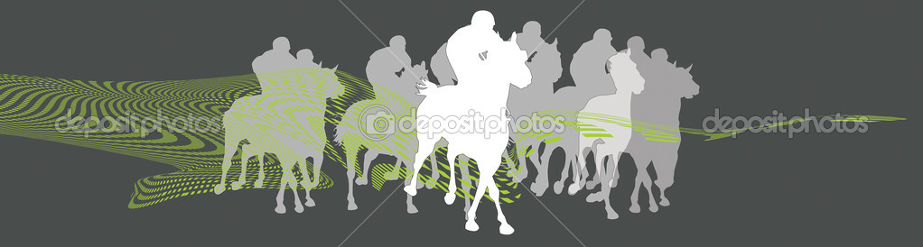 Print of a horse race in black and white  Stock Photo #7331399