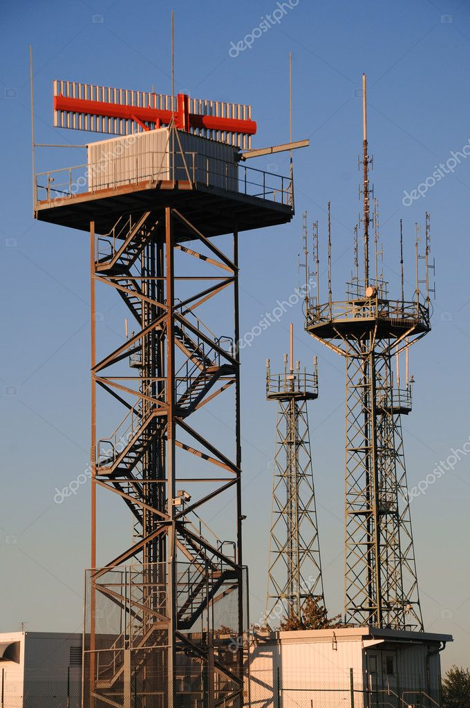 A radio and radar station under a blue sky — Stock Photo #7361873