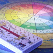 Stock Photo: Tarot Cards and Zodiac Wheel