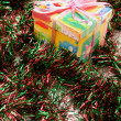 Gift Box and Tinsel — Stockfoto