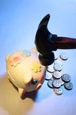 Piggybank with Hammer — Stock Photo