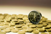 Compass on Coins — Stock Photo