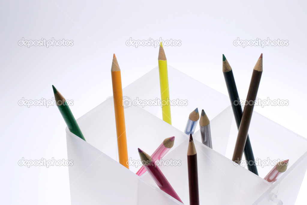 Close Up of Colour  Pencils in Holder — Stock Photo #6837372