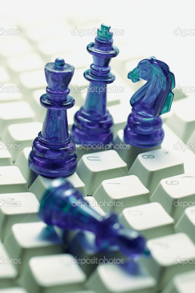 Close Up of Chess pieces on Computer Keyboard — Stock Photo #6837441