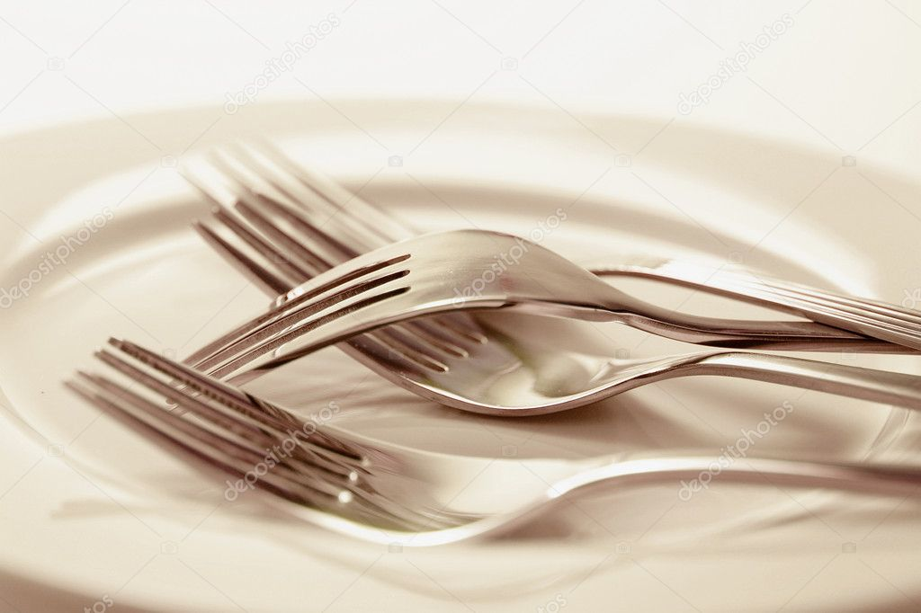 Forks on Plate in Sepia Tone — Stock Photo #6837637