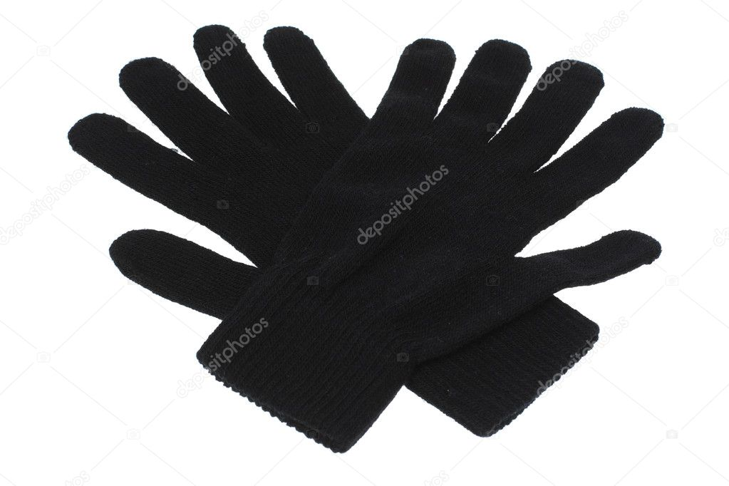 Black Gloves on White Background  Stock Photo #6871326