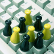 Chess Pieces on Keyboard — Stock Photo