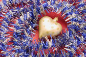 Christmas Heart Ornament with Tinsel — Stock Photo