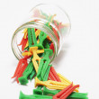Clothes Pegs in glass Jar — Stock Photo