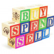 Alphabet Blocks - Buy, Spend, Sell — Stock Photo