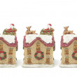 Stock Photo: Miniature Christmas House Figurines