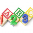 Alphabet and Number Blocks — Stock Photo