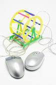 Pet Exercise Wheel with Computer Mouses — ストック写真