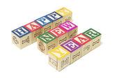Alphabet Blocks - Happy New Year — Stock Photo
