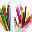 Colour Pencils in Glasses — Stock Photo