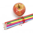 Gala Apple and Colour Pencils — Stock Photo