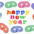 Happy New Year and Party Masks — Stock Photo #6901891