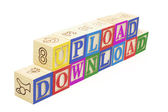 Alphabet Blocks - Upload and Dowload — Stock Photo