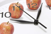 Clock and Apples — Stock Photo