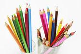 Kleur potloden in glazen — Stockfoto