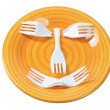 Plastic Forks on Plate — Stock Photo