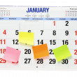 Calendar with Adhesive Note Papers — Stock Photo
