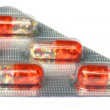 Close up of capsules packed on blister foil — Stock Photo