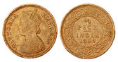 Old Indian Half Pice coin of colonial regime 1899 — Stock Photo