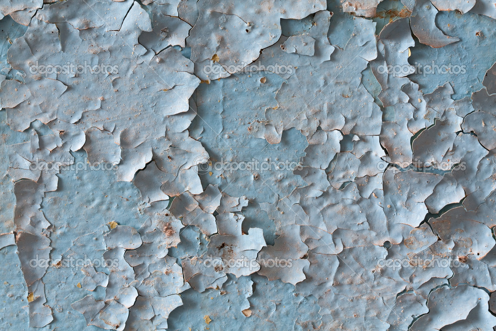 Exfoliated  old blue paint on the wall  Stock Photo #6862111