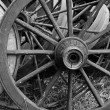 Stock Photo: Old Wooden Wagon Wheels