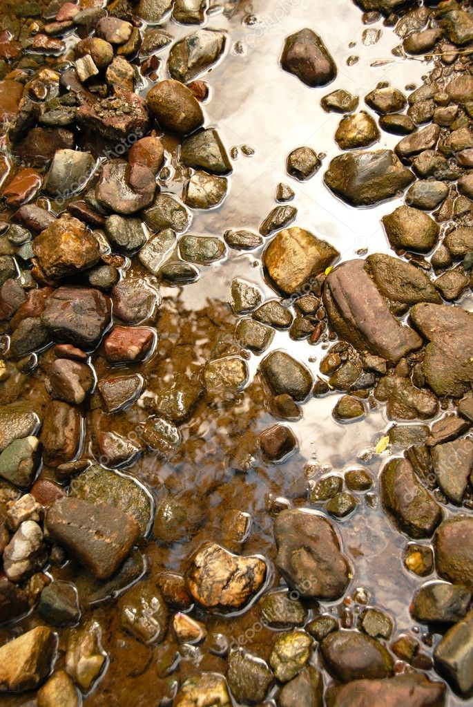 Brown natural wet rocks in river water background  Stock Photo #6837489