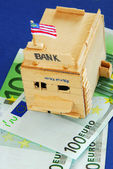 Wooden model of bank — Stock Photo