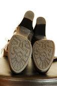 Fußsohlen elegante schwarze stiefel — Stockfoto