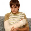 Boy with broken arm — Stock Photo