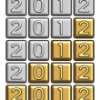 New Year's 2012 inscription of silver and gold bullion - Stock fotografie