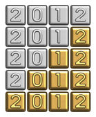 New Year's 2012 inscription of silver and gold bullion — Stock Photo